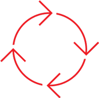 red icon of four arrows forming a circle