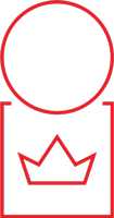 person icon with a crown on chest
